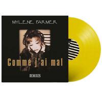 """Mylène Farmer 12"""" Comme j'ai mal (Remixes) - Vinyle jaune, 1000 exemplaires"""