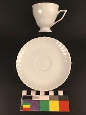Royal Tettau Tea Cup & Saucer White Blanc De Chine Bayreuth Germany Porcelain