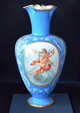 Antique Continental Sevres Style Large Vase with Hand Painted Cherub Panels