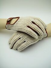 "NEW ""DAYTONA"" Men's Leather Driving Pilot Crochet Gloves Vintage Classic Car"
