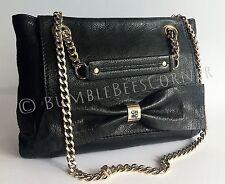 CAROLINA HERRERA Goat Leather CH Embossed Monogram Bow Shoulder Bag HandBag NWT