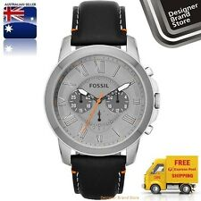 New Fossil Mens Watch Grant Silver Grey Dial Black Leather Strap Chrono FS4886