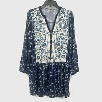 Anthropologie Tiny Brand Floral Embroidered Tunic Dress Blue White Size Small