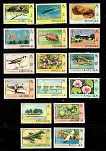 Anguilla stamps #275 - 290, MNHOG, XFS, Mixed topicals, SCV $36.50