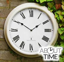 Radio Controlled Wall Clock Outdoor Indoor Antique White Traditional Modern Time