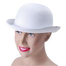 BOWLER HAT WHITE SATIN LOOK CABARET FANCY DRESS WHITE MAT BOWLER HAT