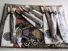 Set 6 Embroidered Chinese Placemats Black Gold Matching Napkins Chopsticks NIP