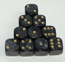 10 of Black Pearl Dice  - Six Sided Spot Dice, size 16mm - D6 RPG Wargaming