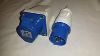 32 amp plug and wall mount socket 3 pin IP44 rated, caravan camping parks etc