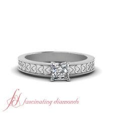 .75 Ct. Princess Cut Diamond Vintage Engraved Solitaire Milgrain Engagement Ring