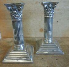 "MAPPIN & WEBB Corinthiam Column Solid Silver Candlesticks Pair Sheffield 1896 6"""