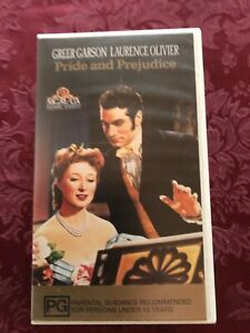 VHS - PRIDE and PREJUDICE Greer Garson & Laurence Olivier 1940 classic video