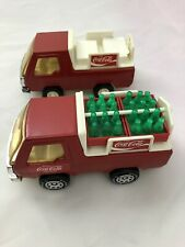 Lot of 2 Vintage 1982 Buddy L Coca Cola Delivery Truck w/ Crates Bottles Diecast