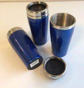 3x Thermobecher Trinkbecher  Becher to go Alu Blau 450 ml  B-Ware R7-