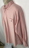 Ralph Lauren Men's Big Shirt Long Sleeve Pink Dress Shirt Size XL Button Up EUC