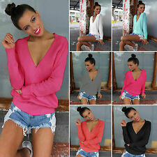 Women Casual V Neck Loose Long Sleeve Blouse Sweater Jumper Pullover Tops Tee