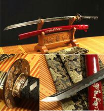 DAMASCUS FOLDED STEEL CLAY TEMPERED  JAPANESE SAMURAI SWORD KATANA COPPER TSUBA