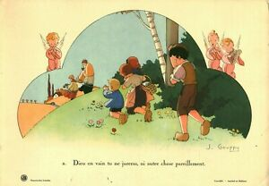 Lithographie enfant religieux J. Gouppy vers 1937 éditions GBB
