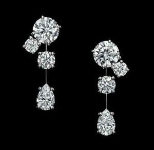 2.00 Carat Round Cut VVS1 Diamond Dangle Earrings Solid 14K White Gold Over