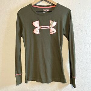 Under Armour Women's M Camo Logo Waffle Thermal Long Sleeve Shirt Olive Green