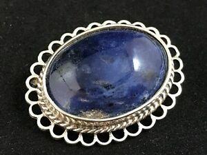 Stunning vintage hallmarked silver lapis lazuli gemstone brooch, 1993