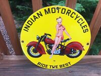 "Vintage Indian Motorcycles Heavy Porcelain Sign 12"" Gas & Oil Sign"