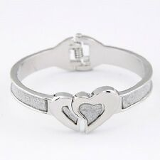 """Bracelet, Hearts Glitter-Look Designed for Small Wrist, 6"""" to 6 1/2"""" Hinged #5-D"""