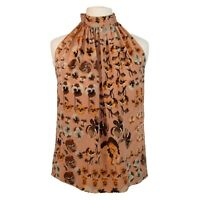 Gucci Halter Top | Salmon Pink Floral Print | 100% Silk | IT 38 UK 6 | Open Back