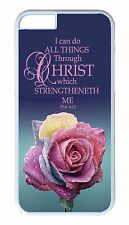 iPhone 4s 5s 5c 6 6s Plus White Case Cover Bible verse Quote Saying  Rose Design