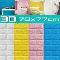 10x 3D Waterproof Brick Wall Sticker Self-adhesive Wallpaper Foam Panel 70x77cm