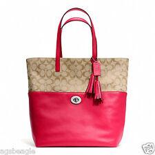Coach Bag F26476 Turnlock Tote Signature Fabric Khaki Pink Scarlet Agsbeagle COD