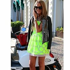 Karen Millen Neon Lime Green Floral Embroidered Summer Cocktail Mini Dress UK 10