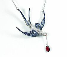 18k 2.6c MULTI RUBY BLUE SAPPHIRE DIAMOND SWALLOW BIRD PENDANT NECKLACE BROOCH