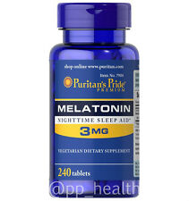 Puritan's Pride Melatonin 3 mg 240 Tablets Sleep Improve MadeinUSA Free Shipping