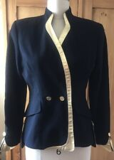 Bloomingdale's 1980s Vintage Dynasty Blazer Black with Gold Leather Trim Size 4P