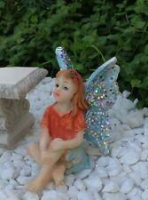 Miniature Dollhouse FAIRY GARDEN Accessories ~ Sitting Girl BLUE Glitter Wings