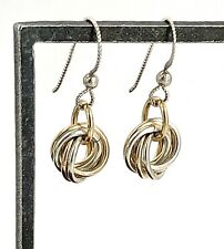 Vintage 2-Tone Sterling Silver Petite Dangling Intertwined Circle Wire Earrings