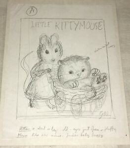 Garth Williams Pencil drawing for Cover  Kitten Thought He Was a Mouse  c. 1950