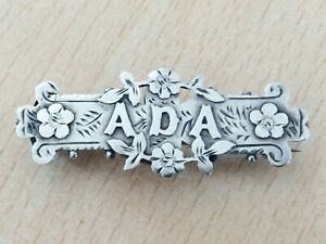 ANTIQUE STERLING SILVER ADA NAME BROOCH PIN 1894