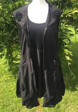 Glamz Black Long Sleeve Top + Tunic Waistcoat Size 10 New with Tags