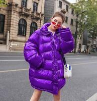 Chic Women Winter Oversize Cotton Down Coat Long Padded Glossy Shiny Jacket Sbox