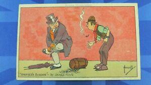 John Hassall Comic Postcard 1900's ANOTHER BURDEN James Payn Books Illustrated