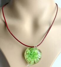 summer 100% Handmade heart Lampwork Glass Murano Bead gold Pendant Necklace