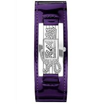 GUESS AUTOGRAPH SILVER TONE,PURPLE PATENT SHINY LEATHER BAND CUFF WATCH W80055L7
