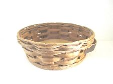 Vintage PYREX 024.624.684 Round Wicker Basket Holder with Leather Handles
