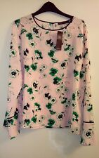 New Ladies Pink Floral Marks and Spencer Long Sleeve Blouse Size 16
