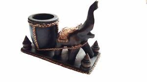 Wood Tea Light Holder Thai Black Lucky Trunk Elephant Small Jewelry Ring Keeper