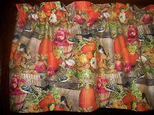 Fall Apples Pumpkins Sunflowers Birds fabric kitchen curtain window Valance