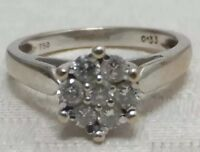 Diamond Daisy Ring Vintage 18ct 18k White Gold
