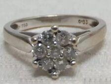 Diamond Daisy Ring Vintage 18ct 18k White Gold